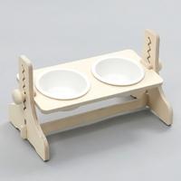 힐링타임 반려동물 높이조절 원목식탁 도자기 화이트 2구