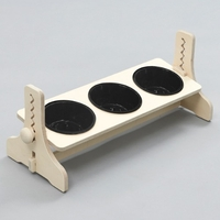 힐링타임 반려동물 높이조절 원목식탁 도자기 블랙 3구