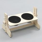 힐링타임 반려동물 높이조절 원목식탁 도자기 블랙 2구