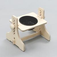 힐링타임 반려동물 높이조절 원목식탁 도자기 블랙 1구